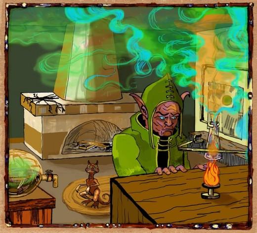 Alchemist in laboratory : Stock Photo