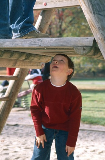 Father with son on a playground : Stock Photo