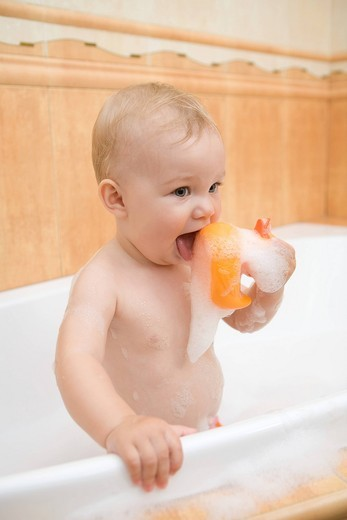 Baby in the bath : Stock Photo