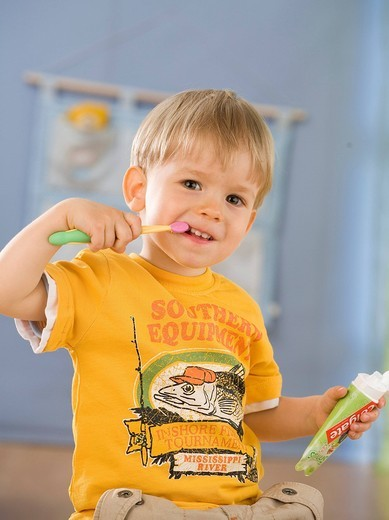 Stock Photo: 4123-32918 Boy cleaning his teeth