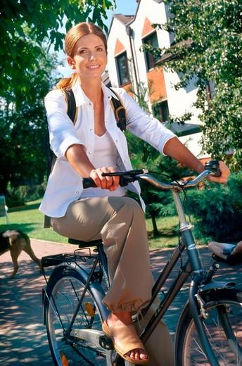Woman on the bike : Stock Photo