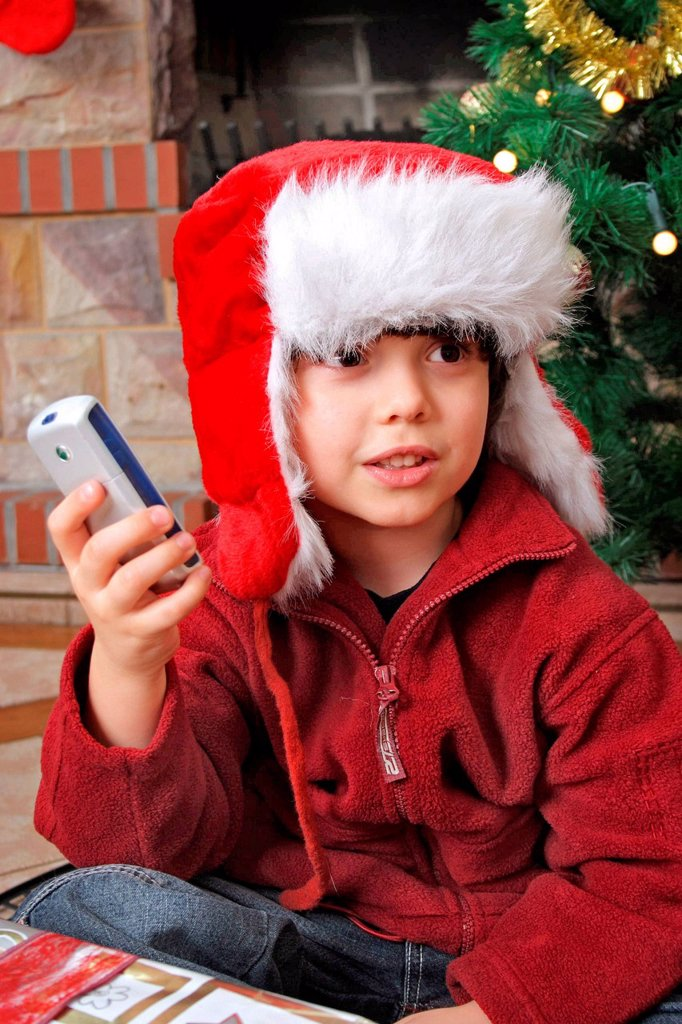 Boy on Christmas Eve. : Stock Photo
