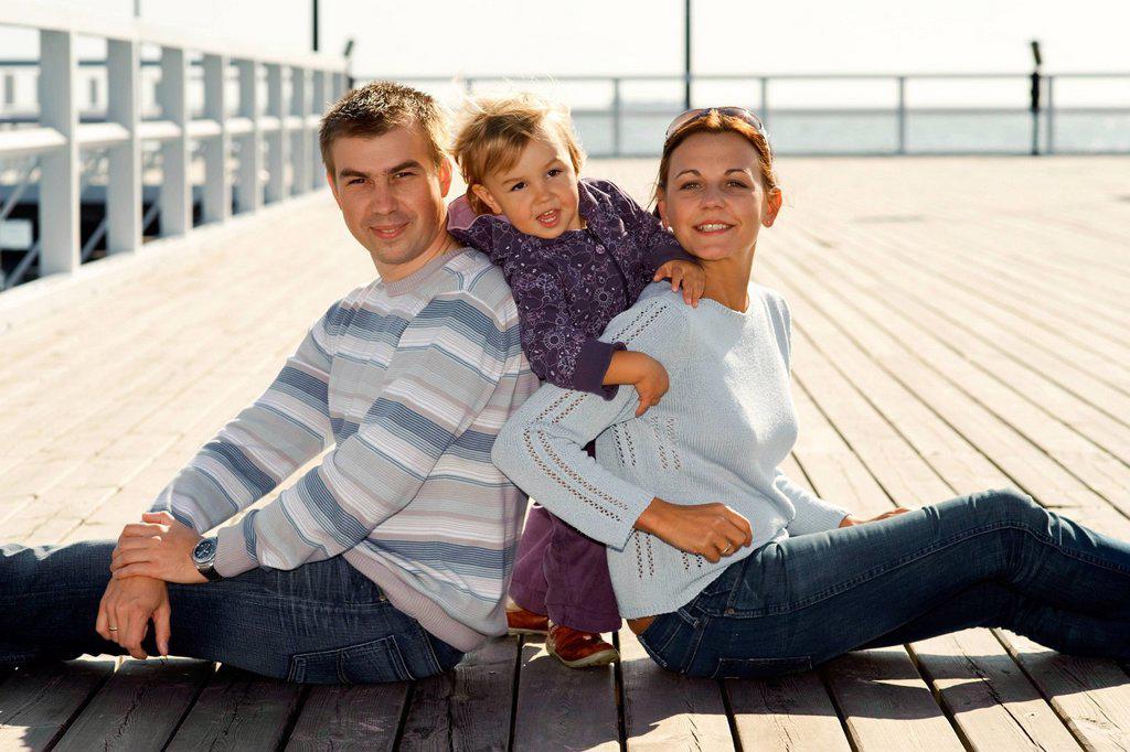 Family at the sea. : Stock Photo