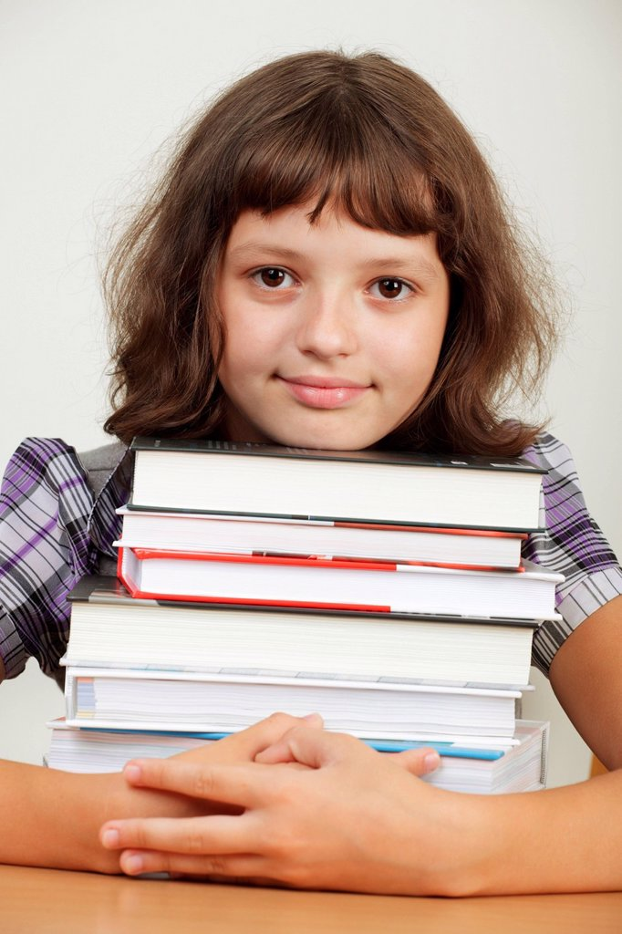 Stock Photo: 4123-42004 Girl with books.