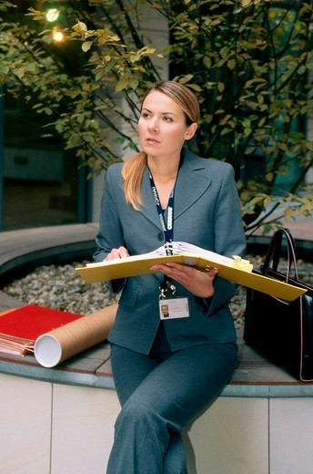 Businesswoman with documents : Stock Photo