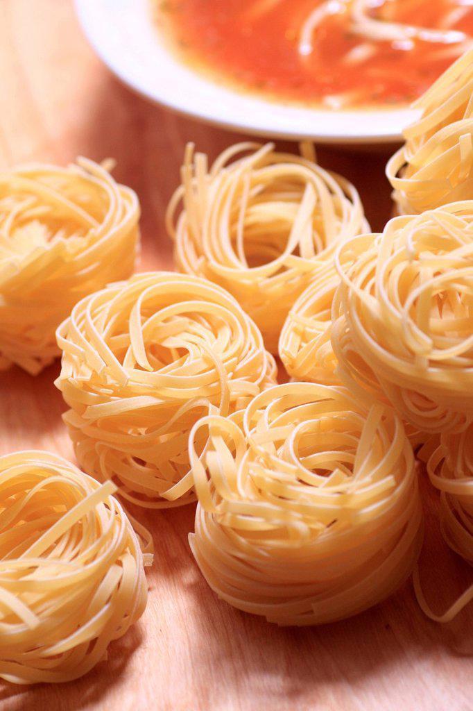 Tomato noodle soup. : Stock Photo