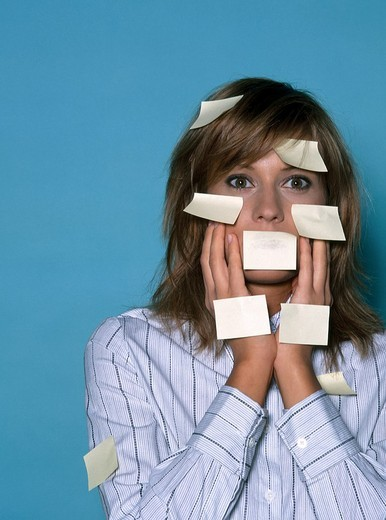 Stock Photo: 4123-5641 Woman with notes