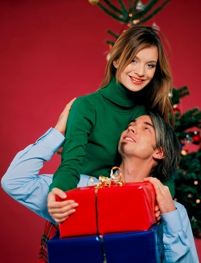 Couple with gifts : Stock Photo