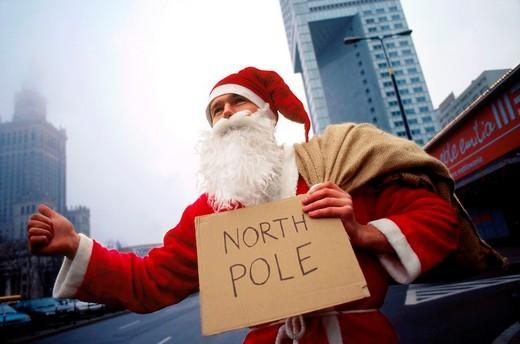 Santa claus on the street : Stock Photo