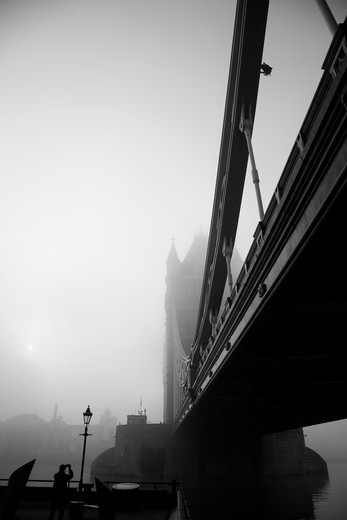 Low angle view of a suspension bridge, Tower Bridge, Thames River, London, England : Stock Photo