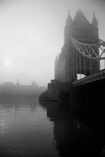 Bridge across a river, Tower Bridge, Thames River, London, England : Stock Photo
