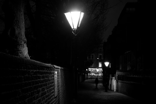 Lamppost lit up at night, Thistle Grove, Chelsea, London, England : Stock Photo