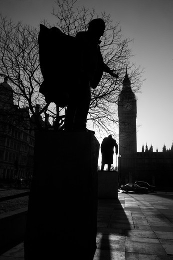 David Lloyd George and Sir Winston Churchill statues, Big Ben, Houses Of Parliament, Parliament Square, City of Westminster, London, England : Stock Photo