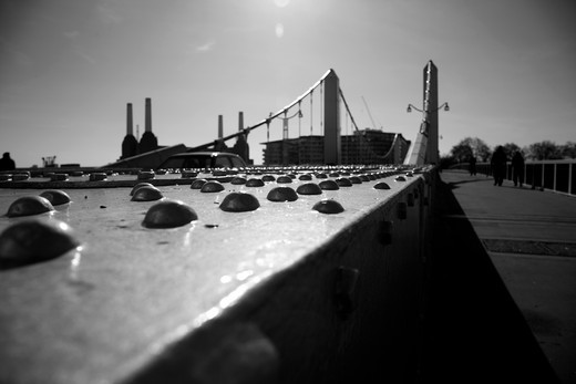 Bridge with a power station in the background, Chelsea Bridge, Battersea Power Station, Battersea, London, England : Stock Photo