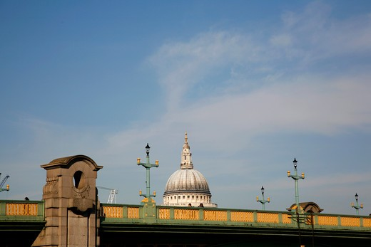 Bridge in front of a cathedral, St. Paul's Cathedral, Southwark Bridge, City of London, London, England : Stock Photo