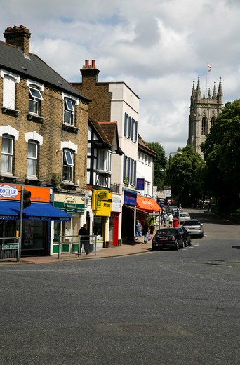 Buildings along a street, High Street, Beckenham, London Borough Of Bromley, London, England : Stock Photo