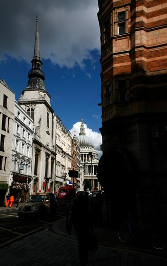 Buildings in a city, St. Paul's Cathedral, Ludgate Hill, City of London, London, England : Stock Photo