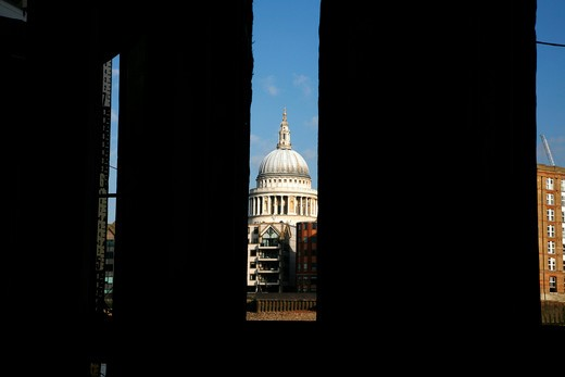 Cathedral viewed from under a pier, Bankside Pier, Thames River, St. Paul's Cathedral, City of London, London, England : Stock Photo