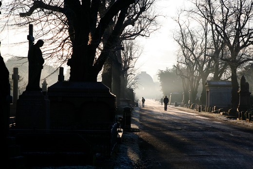 Avenue leading towards a chapel, Central Avenue, Octagon Chapel, Brompton Cemetery, West Brompton, London, England : Stock Photo