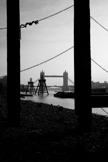 Bridge viewed from a jetty, Tower Bridge, Thames River, City of London, London, England : Stock Photo