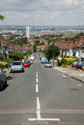 View down from Donaldson Road, Shooters Hill, looking down towards the River Thames at Woolwich, London, UK : Stock Photo