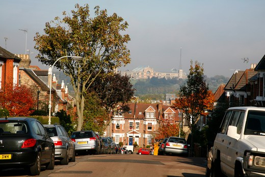 View along Elm Road over Hornsey Vale towards Alexanda Palace in the far distance, London, UK : Stock Photo