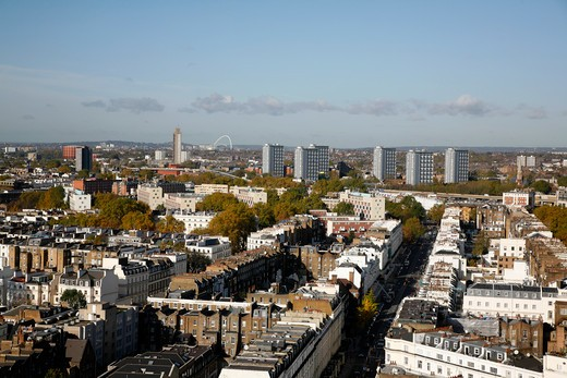 High angle view of a city, Bayswater, Paddington, City of Westminster, London, England : Stock Photo