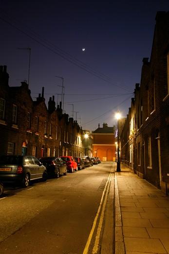 Buildings along a street, Roupell Street, Waterloo, London, England : Stock Photo