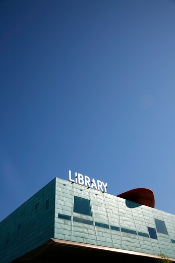 High section view of a library, Peckham Library, Peckham, London, England : Stock Photo