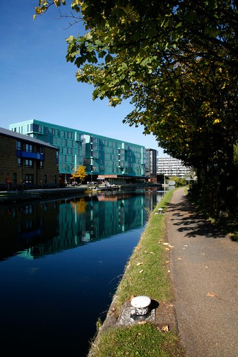 View across Regents Canal to Queen Mary University of London's Westfield Student Village, Mile End, London, UK : Stock Photo