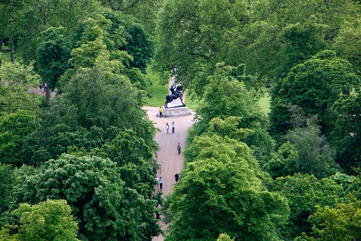 Aerial view of Physical Energy statue in Kensington Gardens, London, UK : Stock Photo