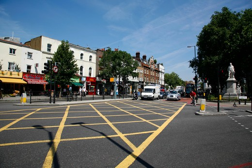 Junction of Upper Street and Essex Road at Islington Green, Islington, London, UK : Stock Photo