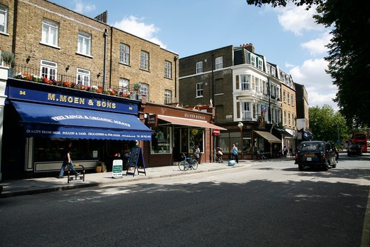 M.Moen & Sons and Oliver Bonas shops on The Pavement, Clapham, London, UK : Stock Photo