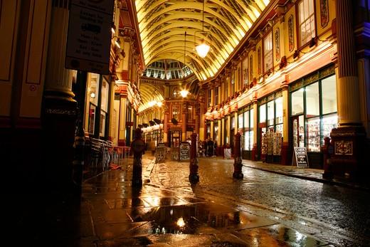 Market lit up at night, Leadenhall Market, City of London, London, England : Stock Photo