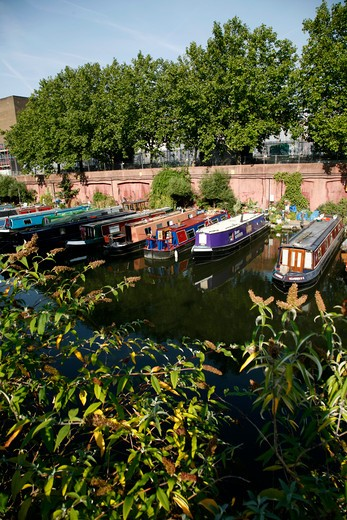 Canal boats moored on the Regent's Canal at Lisson Grove, Marylebone, London, UK : Stock Photo