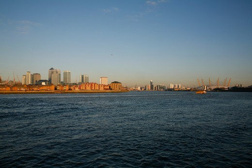 View down the River Thames to Canary Wharf and the Millennium Dome (o2), Docklands, London, UK : Stock Photo