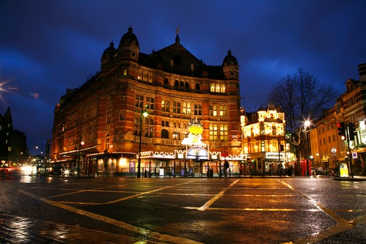 Theatre lit up at night, Palace Theatre, Cambridge Circus, Soho, London, England : Stock Photo