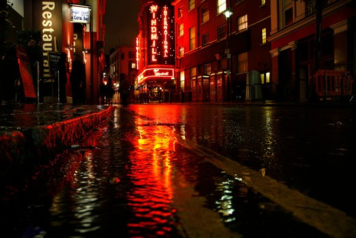 Rainy neon reflections on Great Windmill Street, Soho, London, England : Stock Photo