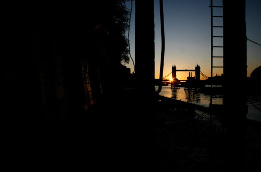 River Thames and Tower Bridge at sunrise, City of London, UK : Stock Photo