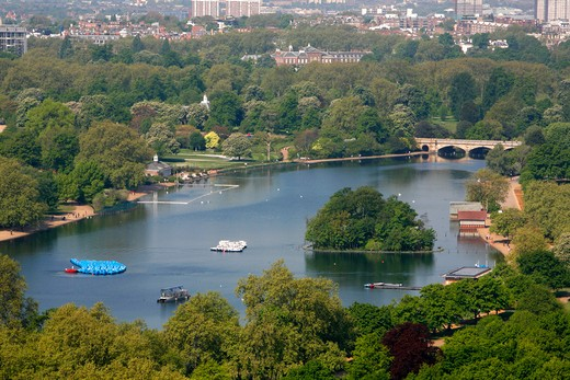 Elevated view of the Serpentine lake in the middle of Hyde Park, London, UK : Stock Photo