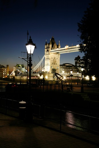 View of Tower Bridge taken from St Katharine's Dock, Wapping, London, UK : Stock Photo