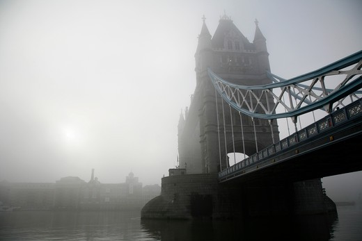 Bridge over a river, Tower Bridge, Thames River, London, England : Stock Photo
