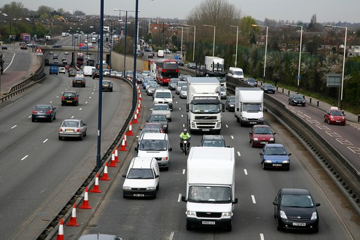 Heavy traffic on the A40 road at Perivale, London, UK : Stock Photo