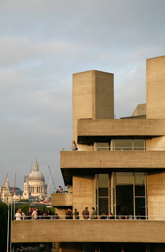 Looking beyond National Theatre to St Paul's Cathedral, South Bank, London, UK : Stock Photo