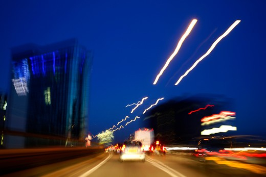 Travelling along the elevated section of the M4 motorway at Brentford, London, UK : Stock Photo