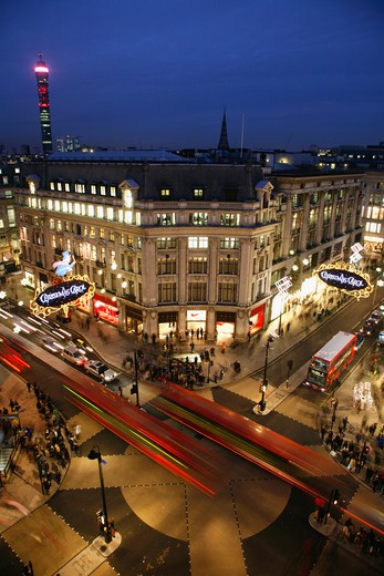 UK, London, West End, Rooftop view of Oxford Circus and Telecom Tower : Stock Photo