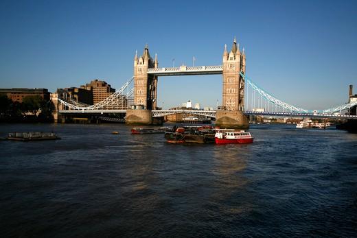 Bridge over a river, Tower Bridge, Thames River, Canary Wharf, London, England : Stock Photo