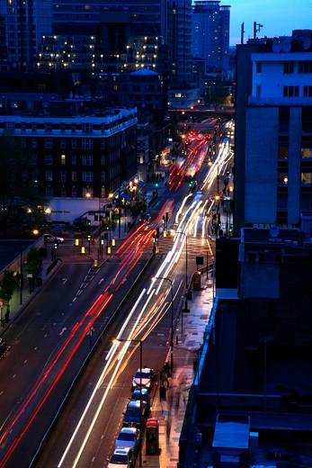 Traffic driving along Edgware Road, Marylebone, London, UK : Stock Photo