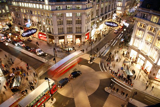 High angle view of a city, Oxford Circus, West End, City of Westminster, London, England : Stock Photo