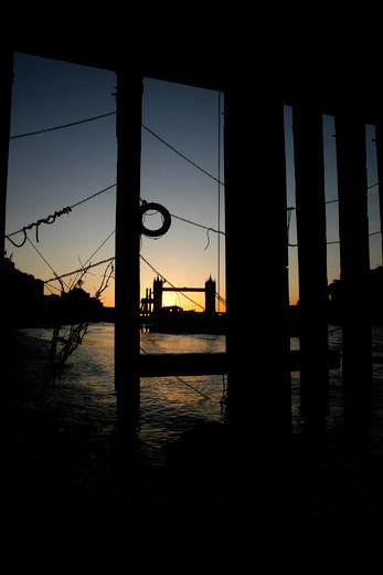 River Thames and Tower Bridge at sunrise, City of London, UK : Stock Photo
